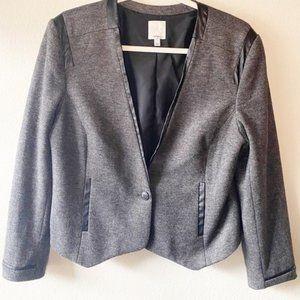 HALOGEN Gray Wool Blend Blazer Jacket